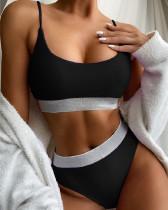 Black High waist bikini split swimsuit