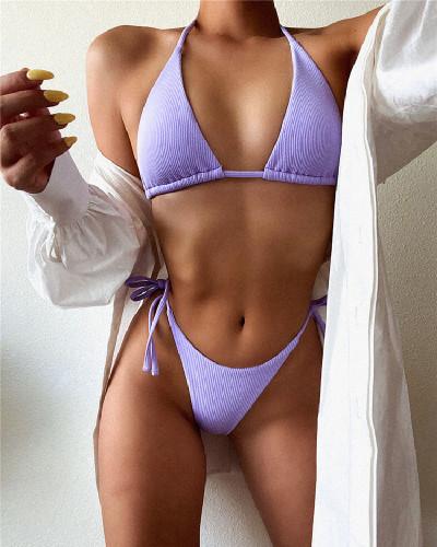 Purple Solid color stitching split swimsuit
