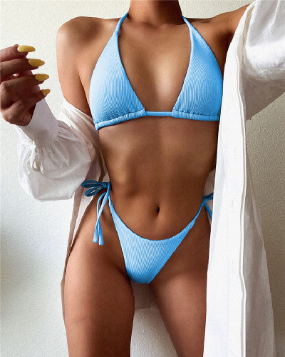 Blue Solid color stitching split swimsuit