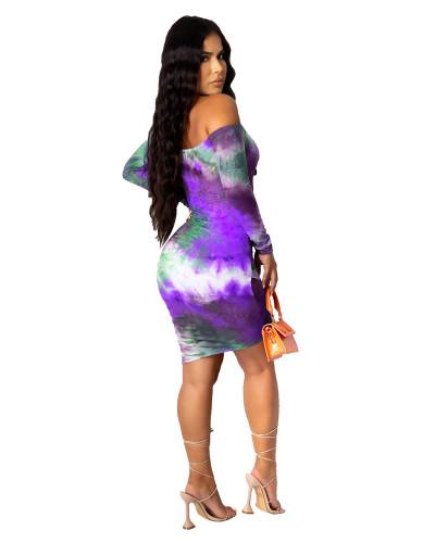 Violet Urban casual tie-dye printing one-neck tie dress