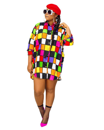 Multicolor Fashion colorful grid all-match shirt loose sunscreen dress