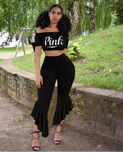Black Sexy women's print sexy letters two-piece ruffled wide-leg pants