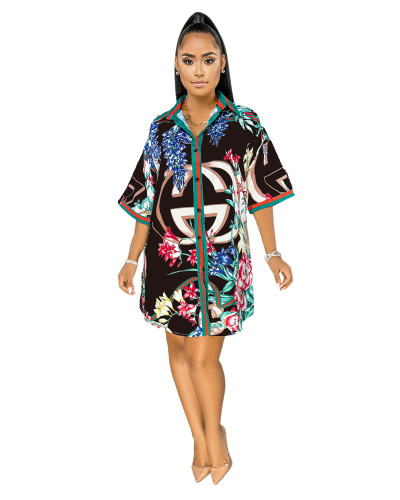 Black Printed shirt multicolor women's dress