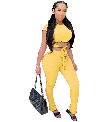 Yellow Two piece set of solid color small pit stripe Ruffle leisure suit