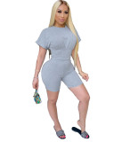 Grey Two piece set of waist closing and leisure sports