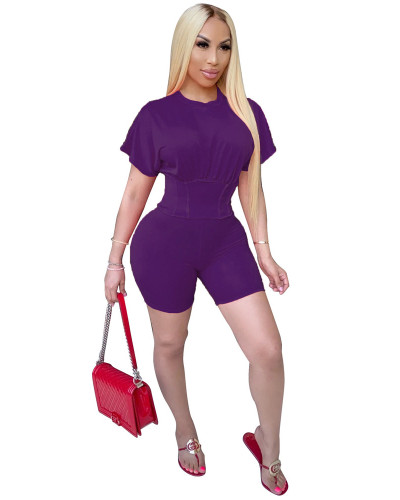 Purple Two piece set of waist closing and leisure sports