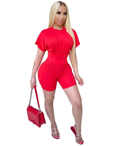 Red Two piece set of waist closing and leisure sports