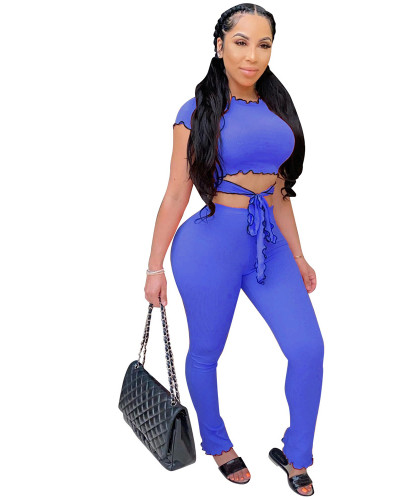 Blue Two piece set of solid color small pit stripe Ruffle leisure suit
