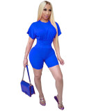 Blue Two piece set of waist closing and leisure sports