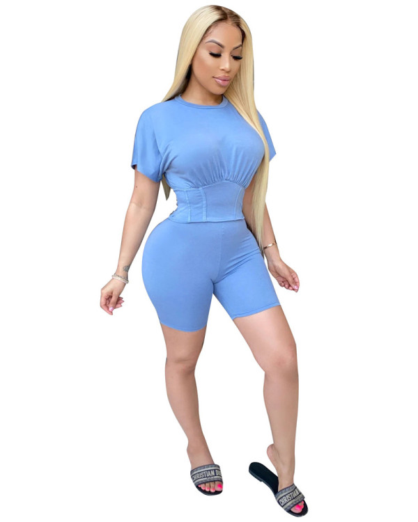 Light blue Two piece set of waist closing and leisure sports