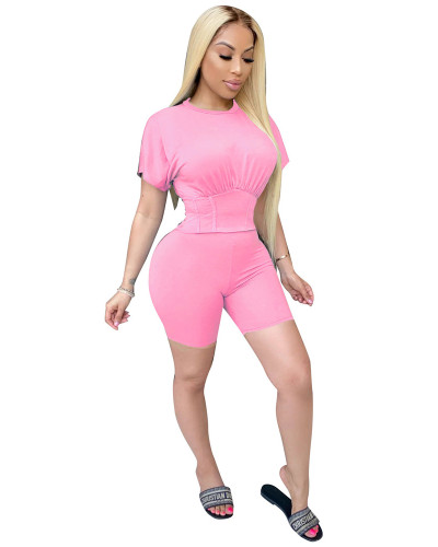 Pink Two piece set of waist closing and leisure sports