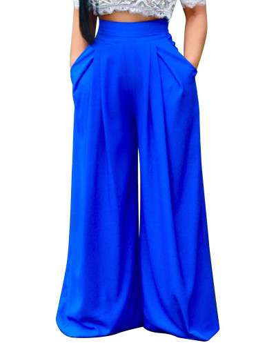 Bule Women's pants European and American long wide-leg pants