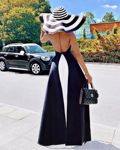 Black Sexy dress with nude back pleated skirt two-piece evening dress