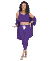 Purple Leisure three-piece suit