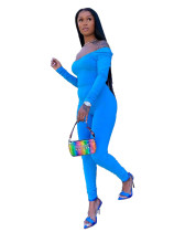 Blue Solid color slim wide collar and more wear two-piece set