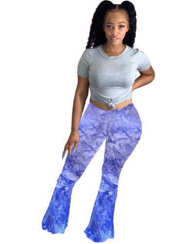 Bule Sexy casual cute tie-dye big flared trousers