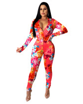 Red Sexy printed casual two-piece suit