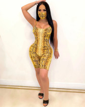 Yellow Slim-fit jumpsuit with sling snake print (including mask)