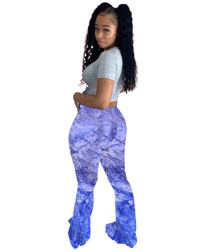 Blue Casual cute tie-dye big flared trousers