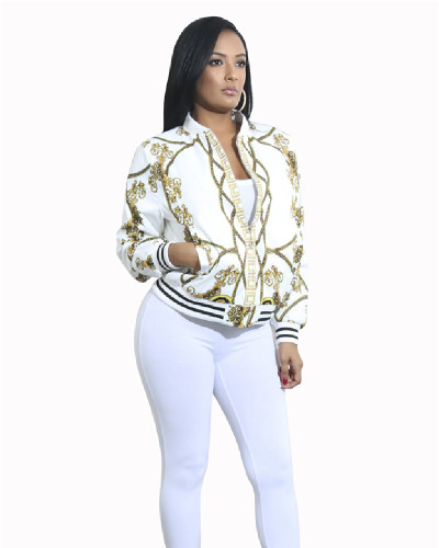 White Printed multicolor jacket