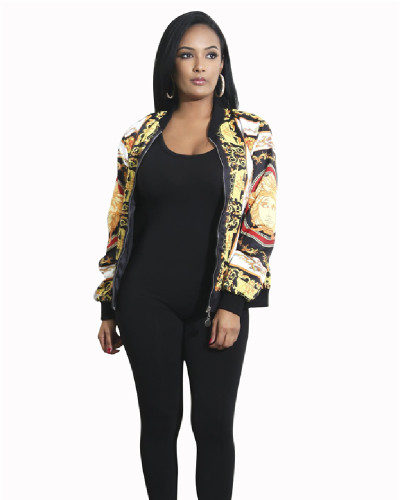 Yellow Printed multicolor jacket