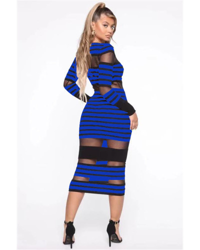 Bule Color striped mesh sexy European and American women's casual dress