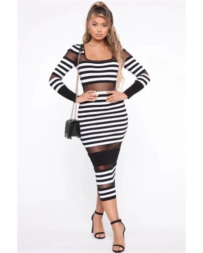 White Color striped mesh sexy European and American women's casual dress