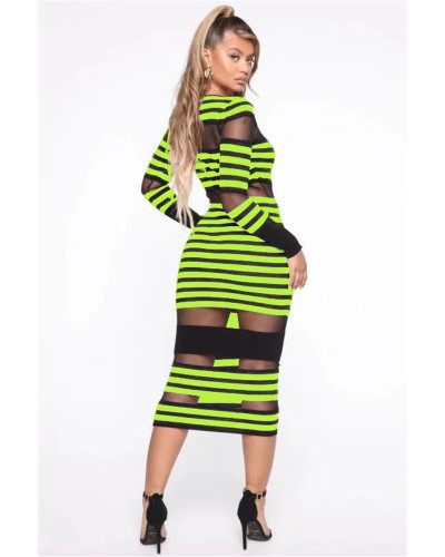 Green Color striped mesh sexy European and American women's casual dress