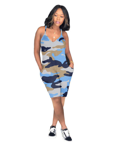 Blue Casual camouflage jumpsuit