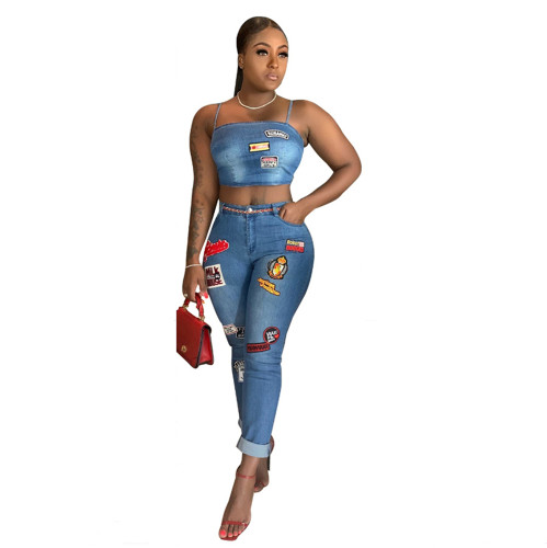 Cartoon patch cuffed jeans suit