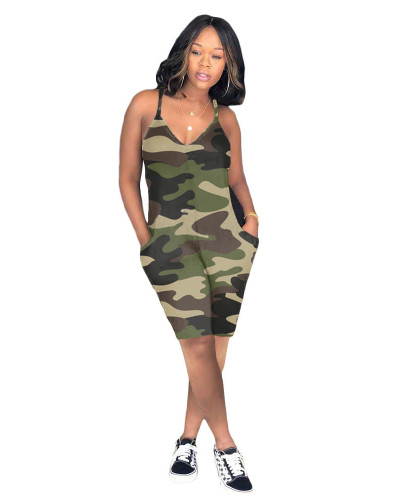 ArmyGreen Casual camouflage jumpsuit