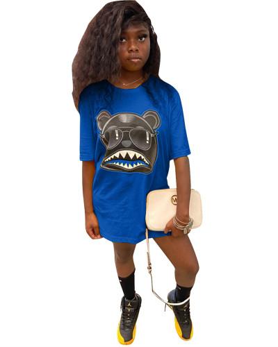 Blue Personalized cartoon print T-shirt skirt
