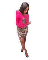 Red Fashion Leopard Print Two-piece Set