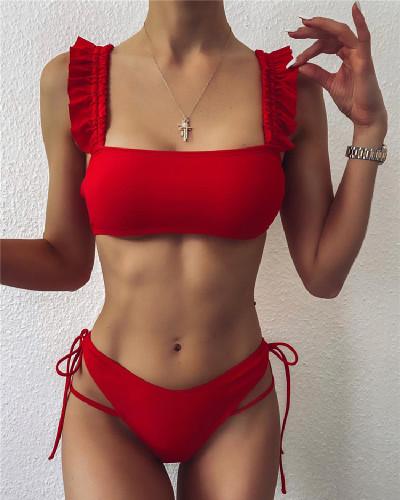 Solid color lace split swimsuit