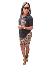 Black Fashion Leopard Print Two-piece Set