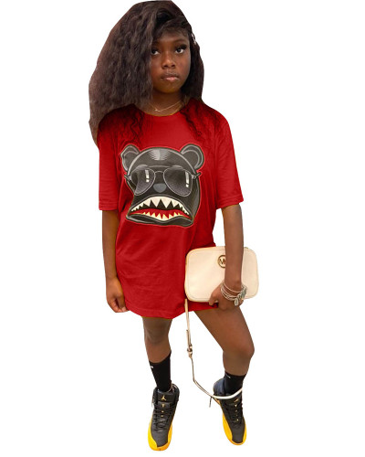 Red Personalized cartoon print T-shirt skirt