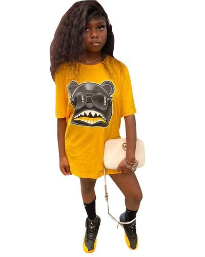 Yellow Personalized cartoon print T-shirt skirt