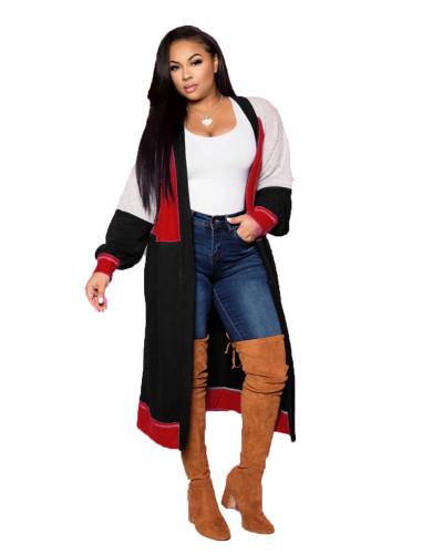 Black Fashion simple stitching long cashmere cardigan