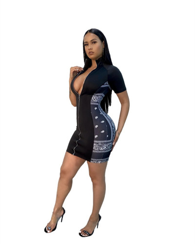 Black Printed zipper tight-fitting hip dress