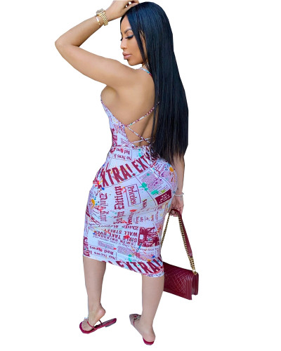 Red Letter print dress with tie waist