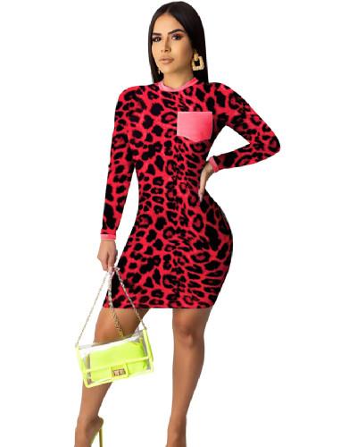 Red Fashion leopard print digital print tight dress