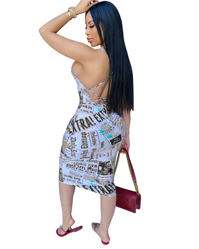 Black Letter print dress with tie waist