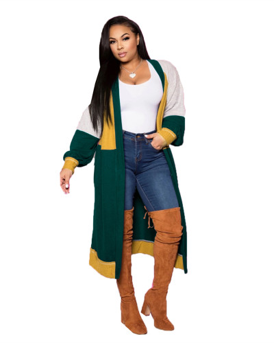 Green Fashion simple stitching long cashmere cardigan