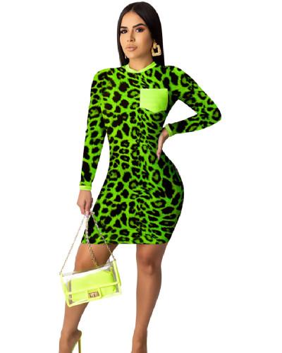 Green Fashion leopard print digital print tight dress