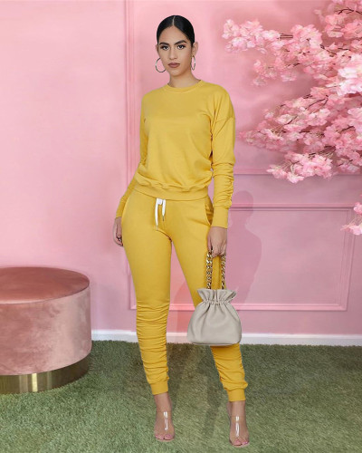 Yellow Hooded zipper sweatshirt and leggings two-piece sports suit