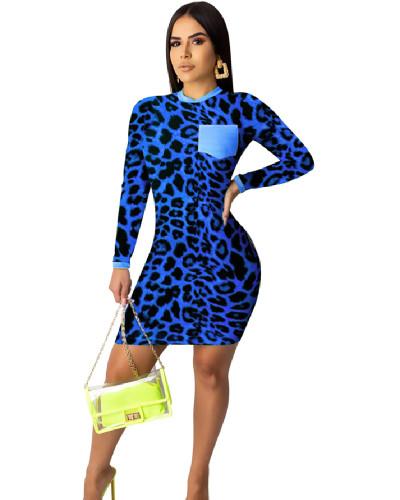 Blue Fashion leopard print digital print tight dress