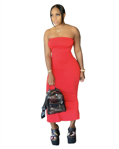 Red solid color wrap chest tight-fitting slit dress
