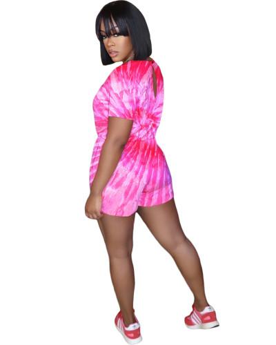 Pink Fashion printed bouquet waist jumpsuit