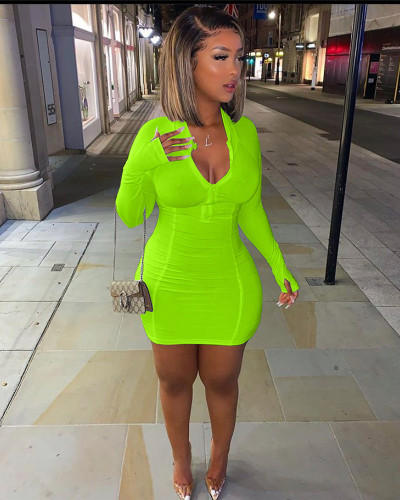 Green Fashion casual solid color bag hip dress