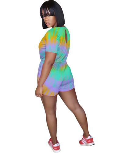 Green Fashion printed bouquet waist jumpsuit
